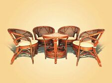 PELANGI RATTAN WICKER SET OF 4 CHAIRS WITH CUSHION AND ROUND COFFEE TABLE
