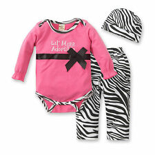 New Baby Girls Clothing Set Long Sleeve Romper + Pants + Hat 3 Pcs/Set
