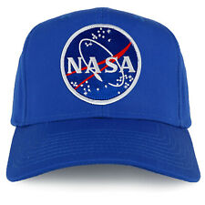 NASA Astronaut Space Logo Embroidered Patch Snapback Cap - Royal Blue Hat