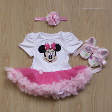 Newborn Baby Infant Girl Minnie Romper Dress 3PCS Jumpsuit Outfits Clothes