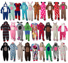 Boys Girls Kids Onesie Sleepsuit All in One Pyjamas Hooded Fleece 2-13 NEW