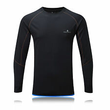 Ronhill Advance Crew Mens Black Breathable Long Sleeve Running Top Blouse