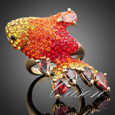 18K Gold Plated Austrian Crystal Red CZ Goldfish Fashion Women Ring Jewelry