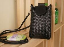Woven Leather Cell Phone Holder/Cross Body Bag