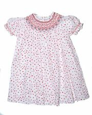 NWT Carriage Boutique Baby Girls Red Polka Dot Hand Smocked Dress 12 18 24 M