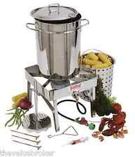 Cookware Turkey Fryer Crawfish Boiler 32 QT Stainless Steel With/Without Burner