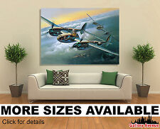 Wall Art Canvas Picture Print - Airplane Painting Art P-38J Aviation 4.3