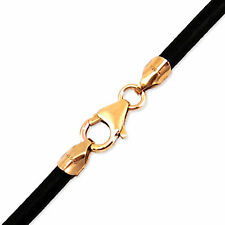 "3mm Black Round Leather Cord Necklace Choker 14K Gold Filled Clasp 14"" - 36"" NYC"