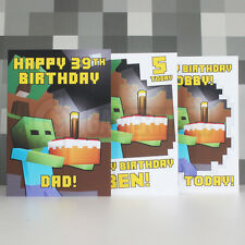 PERSONALISED A5 Birthday Card any NAME and AGE! Zombie Cake Craft Gamermash