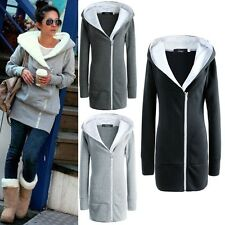 New Women Casual Hoody Sweater Coat Jacket Zipper Outwear Hooded Top Size S-XXXL