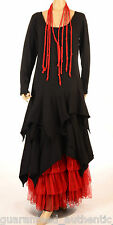 FANTABULOUS LAGENLOOK BLACK LONG SLEEVE MULTI POINT DRESS UK10 - 20 US 6 - 16