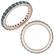 0.25 Carat Blue Diamond Wedding Eternity Beaded Classic Band 14K Pink Gold