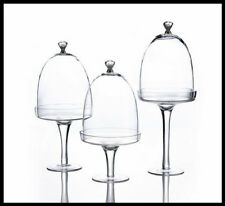 Cake Stand Pedestal Plates Set of 3 with Glass Domes Baking Kitchen Equipment
