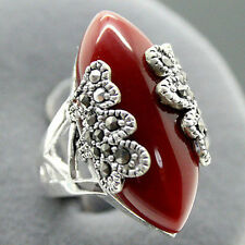 Beautiful Marcasite 925 red agate jewelry sterling silver ring size 7-10