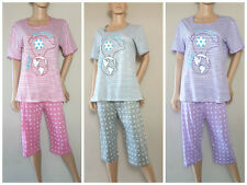 Ladies Short Sleeve Cropped Patterned Pyjamas  PJ Set Size 10 - 22