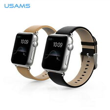 USMAS Genuine Cattle Leather Watch Band Classic Buckle Straps for Apple Watch