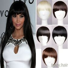 Girls Clip On/In Front Hair Bang Fringe Hair Extension Thick Short BANGS USA TH