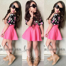 2PCS Cotton Kids Girls T-shirt + Skirt Baby Clothes Outfits Sets for 3-8Y