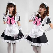 Sexy Pink Bow Lolita French Maid Outfit Dress Cosplay Party Set apron Costume