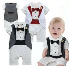 1pc Baby Boy Playsuit Kid Bow tie Crown Outfit Set Newborn Romper Clothing 0-18M
