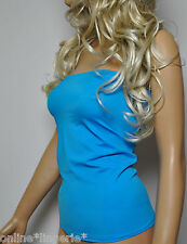 TURQUOISE LYCRA BOOB TUBE TOP STRAPLESS BANDEAU PARTY HOLIDAY DANCER CLUB W703