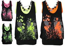 WOMENS LADIES NEON NECKLACE GLITTER SPLASH PRINT TWIN VEST SLEEVELESS TOP 8-14