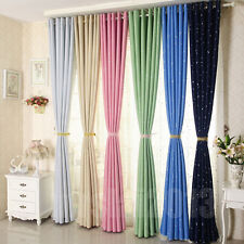Colorful Star Textured Blockout Eyelet Curtains Blackout Room Darkening New