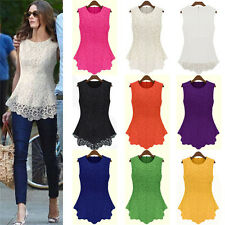 New Sleeveless Embroidery Lace Flared Peplum Crochet Top T-Shirt Vest Blouse
