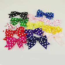 "85mm SPOTTY Large Double Bows Satin Ribbon Bows With Tails 4"" Beautiful 5 / 25"
