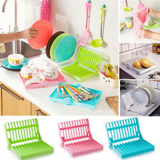 Foldable Dish Plate Drying Rack Organizer Drainer Storage Plastic Holder Kitchen