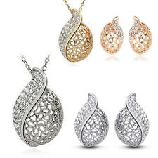 Women Love Hollow Leaf Ear Studs Rhinestone Necklace Earrings Set Party Jewelry