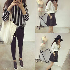 Sweaters Long Sleeve Twist Stripe Round Collar Tops Loose Vertical Sheer Women