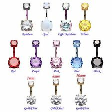 Belly Ring Large CZ Gem Rose Gold Navel Banana Clear Pink Purple Red Body Blue