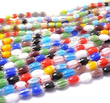 Mixed  Ovoid MILLEFIORI Glass Loose Spacer BEADS  9MM 12MM 14MM