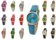Classic Style Women Mens Wrist Watch Mabz London Soft leather Strap Gold Dial
