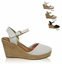 Women's Lace Overlay Closed Toe Ankle Strap Espadrille Wedge Sandals Handbag