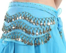 Lake blue Belly Dance Scarf Wrap Hip Skirt 128 Gold Coins SEXY Dancing Best
