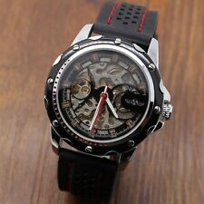 Fashion WINNER Skeleton Mens Automatic Mechanical Rubber Band Sport Wrist Watch