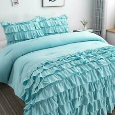 BEAUTIFUL SOFT TEAL BLUE AQUA WHITE GREY RUFFLED RUCHED GIRL CHIC COMFORTER SET