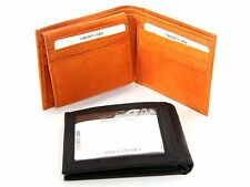 Cow-hide Leather Bifold 9 Credit Card 1 ID Double Bill Wallet w/Coin/Key Pocket
