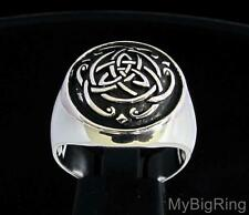 STERLING SILVER MEN'S SIGNET UNITY RING CELTIC INFINITY KNOT TRISKELE ANY SIZE