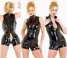 Shiny Sexy Opening Crotch Hot Black Stretch PVC Latex Spandex Catsuit / Free P&P