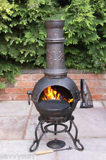 Solid Cast Iron Chimenea and BBQ Combi Bronze Chiminea Barbeque Patio Heater