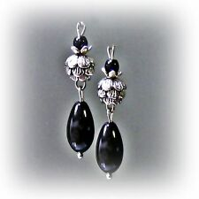 Black glass pearl earrings, with Tibetan Silver waterlily, clip on or pierced