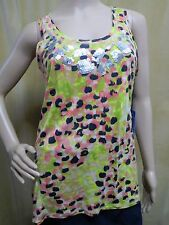 SIMPLY VERA WANG Embellished Dot Sequin Sleeveless Blouse Top Petite S XS PXS PS