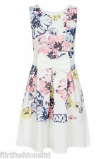 Ladies Floral Printed Bow Front Skater Dress Sleeveless Cute Summer Stylish Chic