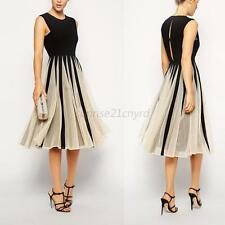 Women Summer Women's Casual Dress Sleeveless Chiffon Dresses Retro Party Pleated