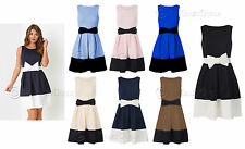 New Womens Ladies Tie Bow Flared Pleated Contrast Waist Hem Party Skater Dress