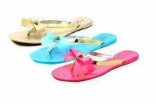 Ladies Jelly Sandals / Flip Flops with diamante Bow