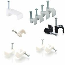 Round and Flat White & Black Cable Clips 4mm-14mm with Fixing Nails Clip